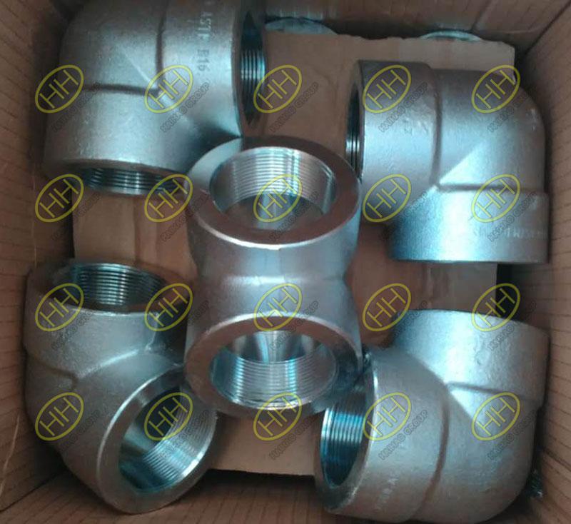 Aço inoxidável forjado A182 F316 90 grau cotovelo rosqueado