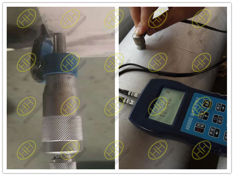 Measurement thickness of S31803 seamless pipe